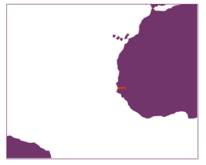 Purple map of West Africa showing The Gambia in orange