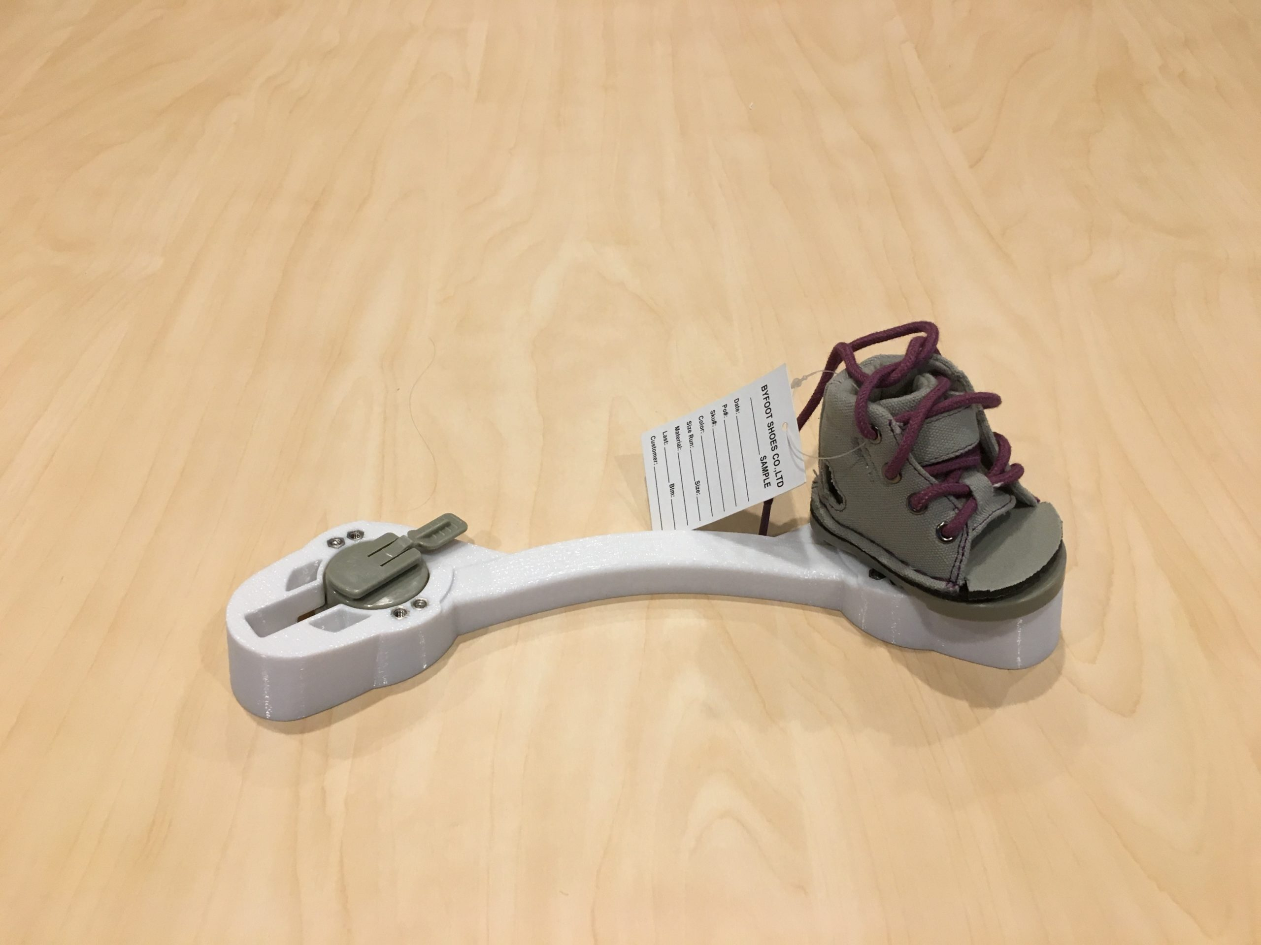 smaller bar and size zero shoe on table